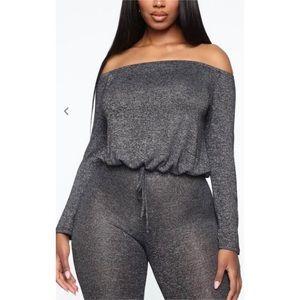 Fashion Nova Off Shoulder Long Sleeve Jumpsuit